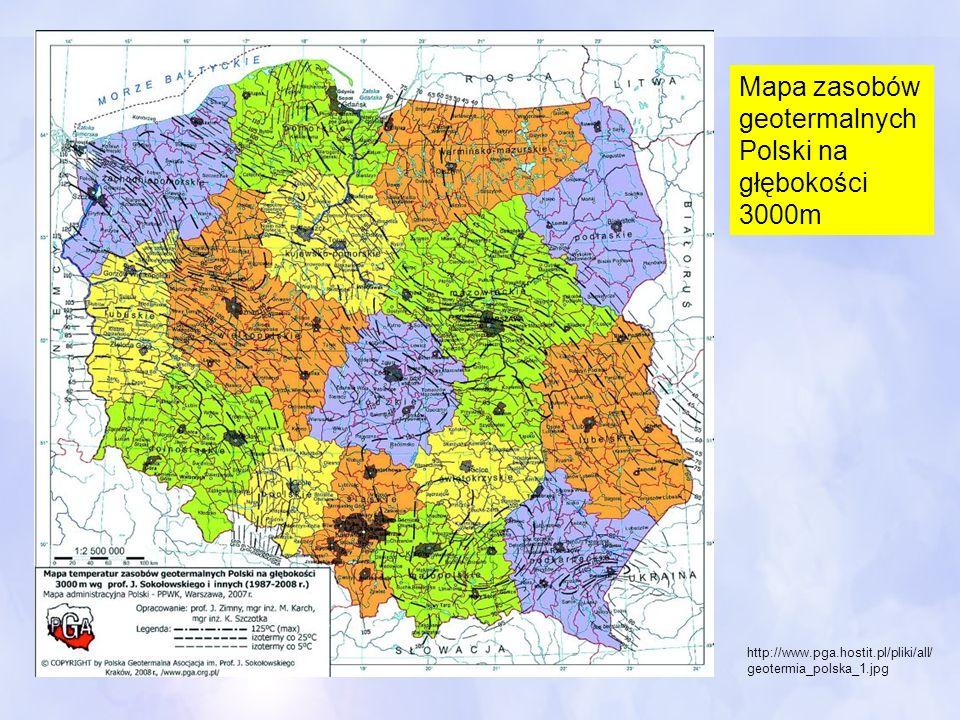 Mapa zasobów geotermalnych Polski na głębokości 3000m