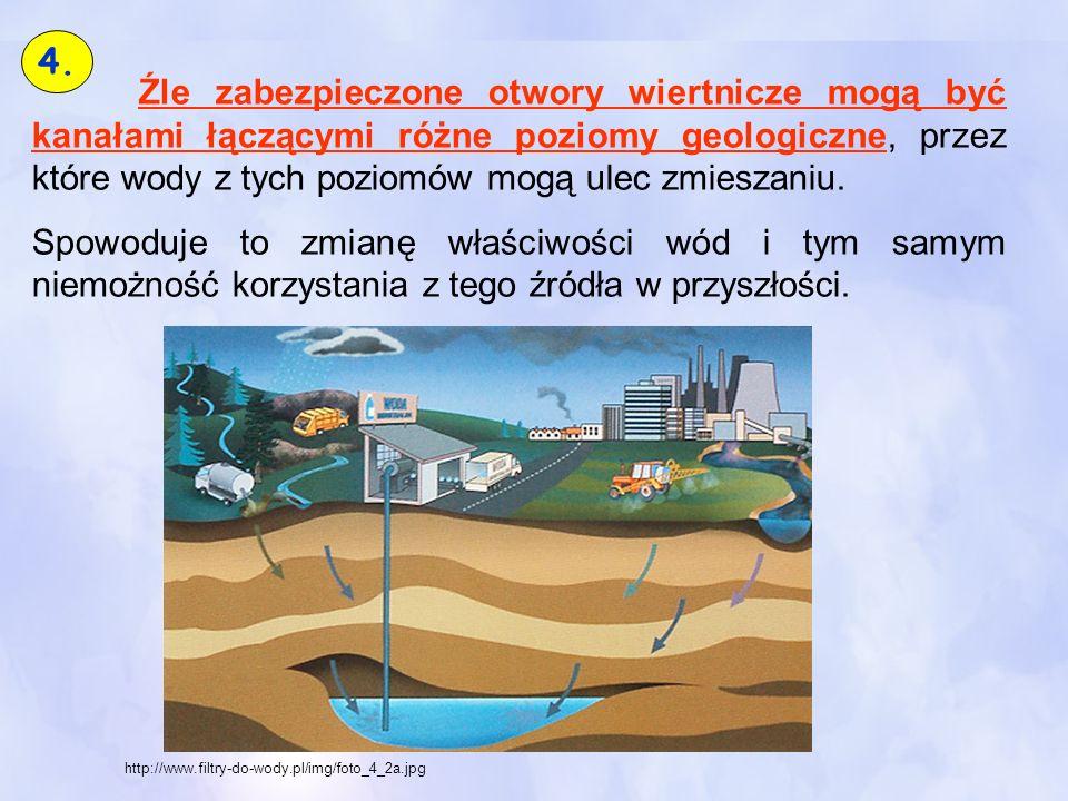 4. Źle zabezpieczone otwory wiertnicze mogą być kanałami łączącymi różne poziomy geologiczne, przez które wody z tych poziomów mogą ulec zmieszaniu.