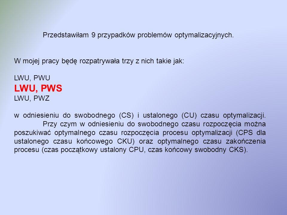 LWU, PWS Przedstawiłam 9 przypadków problemów optymalizacyjnych.
