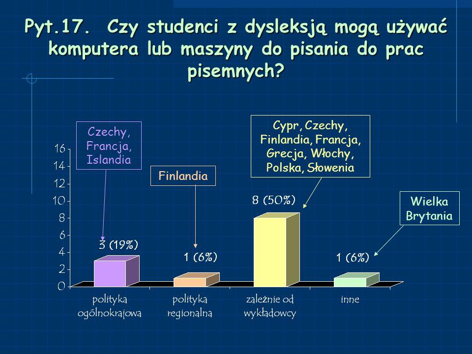 Pyt.17. Czy studenci z dysleksją mogą używać komputera lub maszyny do pisania do prac pisemnych