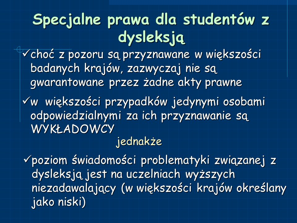 Specjalne prawa dla studentów z dysleksją