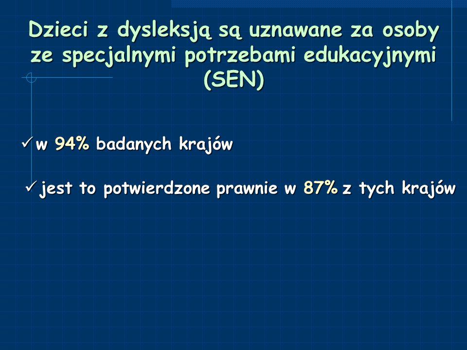 Dzieci z dysleksją są uznawane za osoby ze specjalnymi potrzebami edukacyjnymi (SEN)