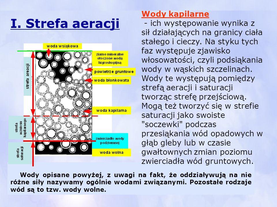 I. Strefa aeracji Wody kapilarne