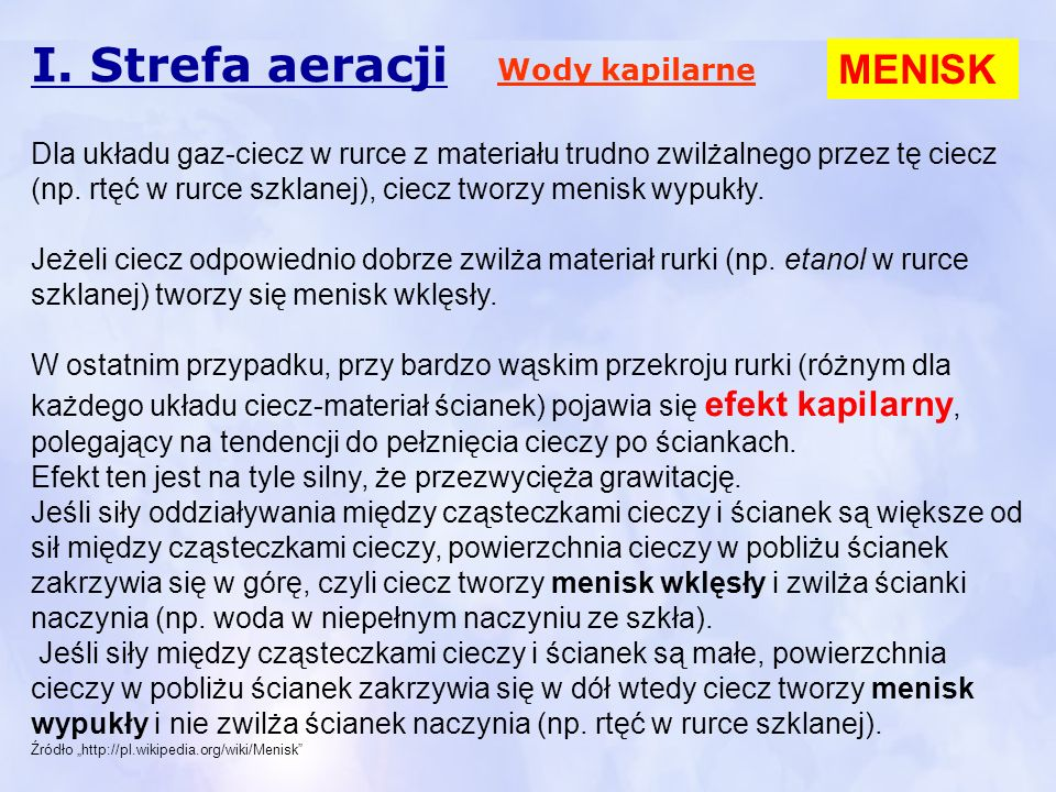 I. Strefa aeracji MENISK Wody kapilarne