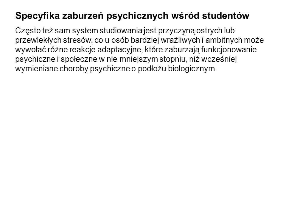 Specyfika zaburzeń psychicznych wśród studentów