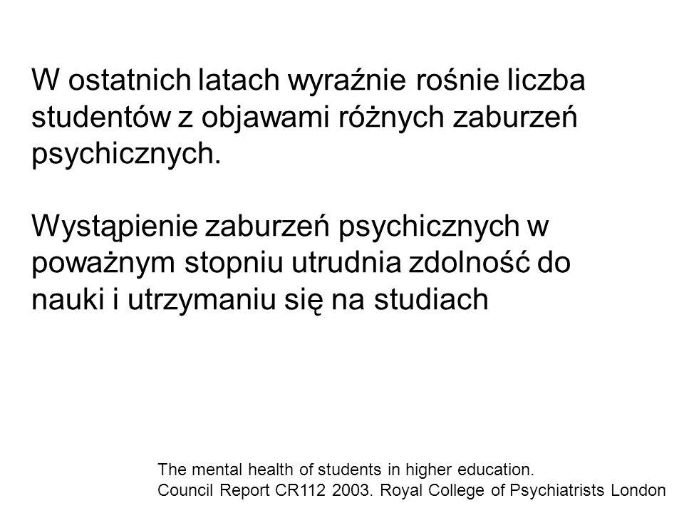W ostatnich latach wyraźnie rośnie liczba studentów z objawami różnych zaburzeń psychicznych.
