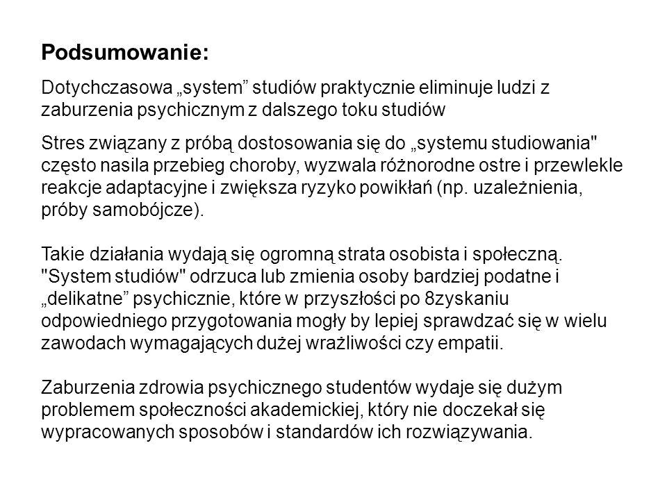 """Podsumowanie: Dotychczasowa """"system studiów praktycznie eliminuje ludzi z zaburzenia psychicznym z dalszego toku studiów."""