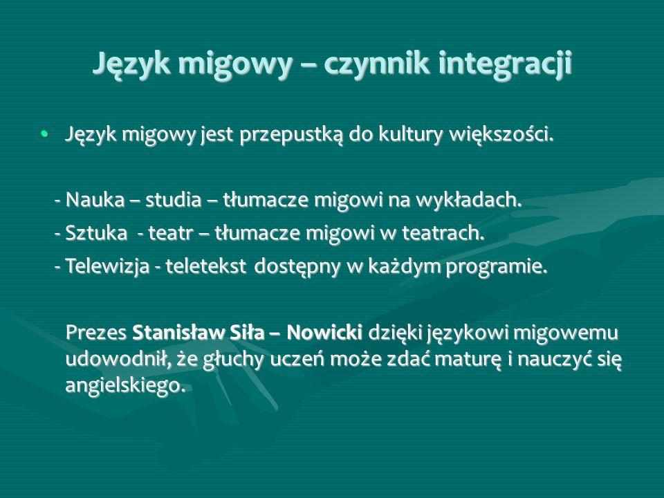Język migowy – czynnik integracji