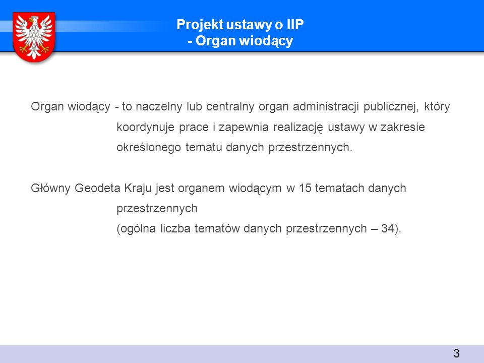 Projekt ustawy o IIP - Organ wiodący
