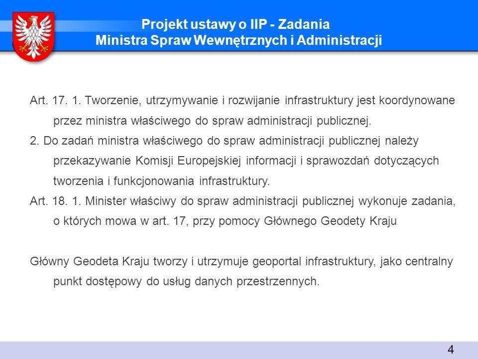 Projekt ustawy o IIP - Zadania Ministra Spraw Wewnętrznych i Administracji