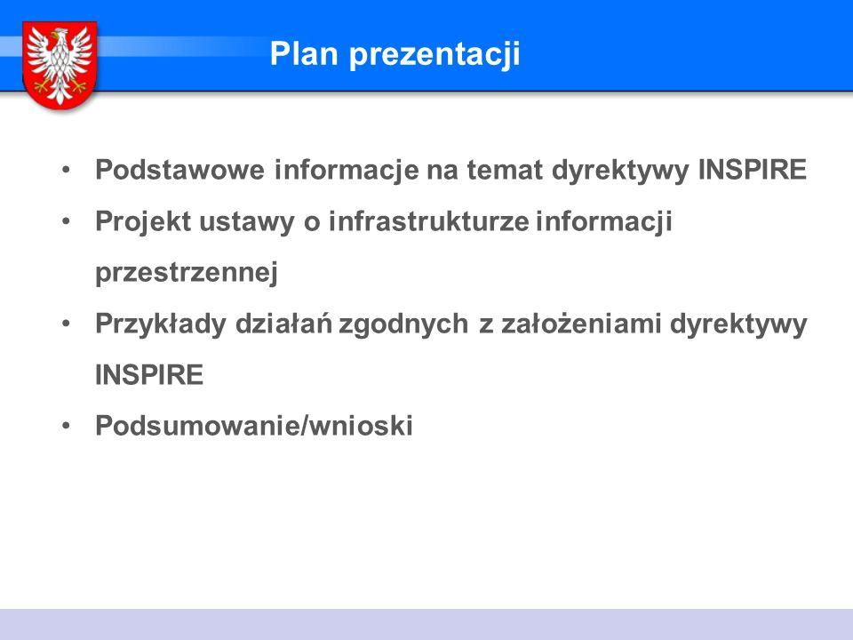 Plan prezentacji Podstawowe informacje na temat dyrektywy INSPIRE