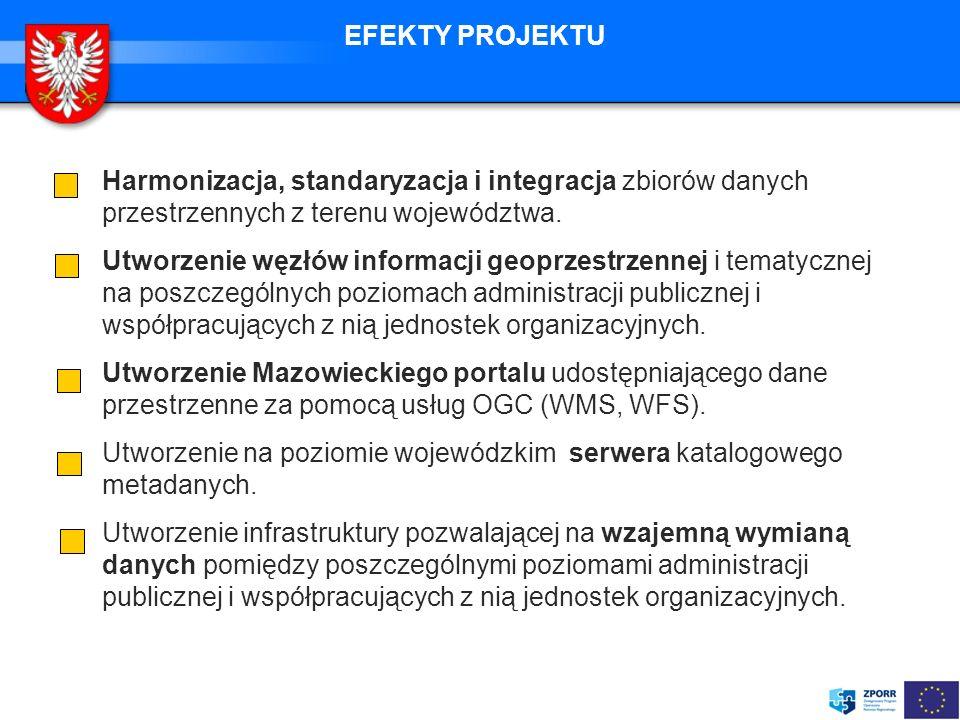 EFEKTY PROJEKTU Harmonizacja, standaryzacja i integracja zbiorów danych przestrzennych z terenu województwa.