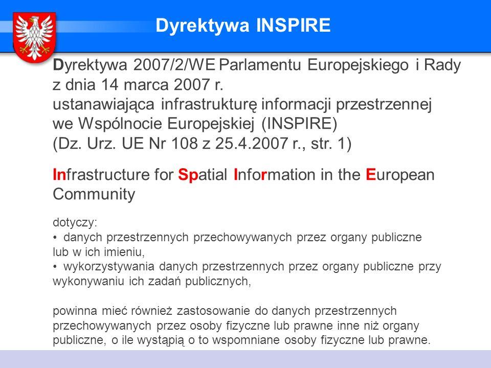 Dyrektywa INSPIRE Dyrektywa 2007/2/WE Parlamentu Europejskiego i Rady z dnia 14 marca 2007 r.