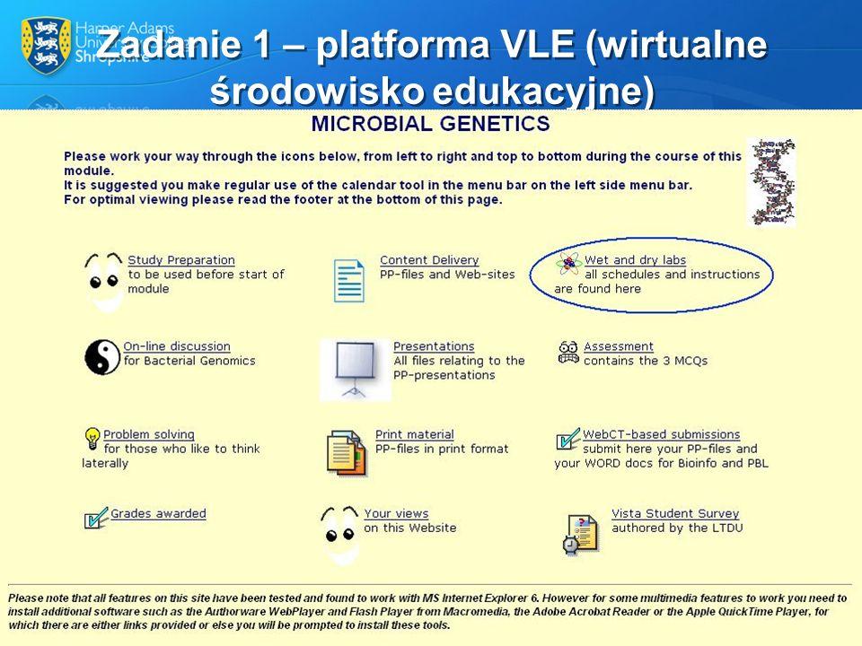 Zadanie 1 – platforma VLE (wirtualne środowisko edukacyjne)