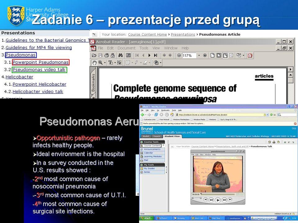 Zadanie 6 – prezentacje przed grupą