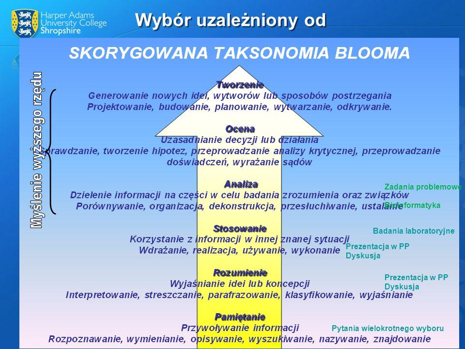 Wybór uzależniony od Zadania problemowe Bioinformatyka