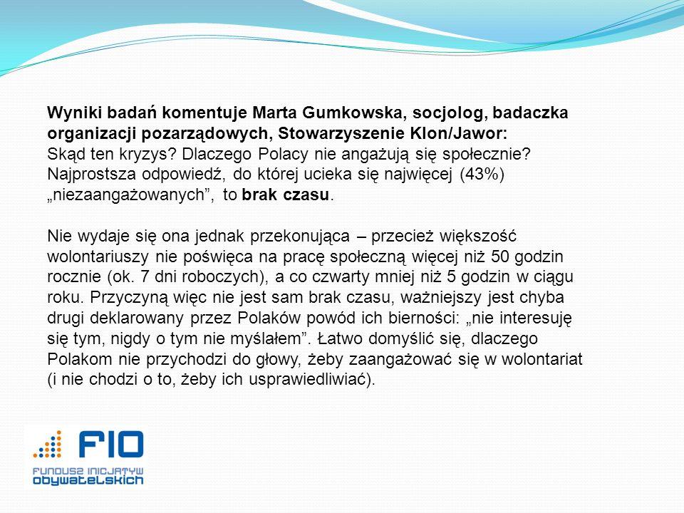 Wyniki badań komentuje Marta Gumkowska, socjolog, badaczka organizacji pozarządowych, Stowarzyszenie Klon/Jawor: