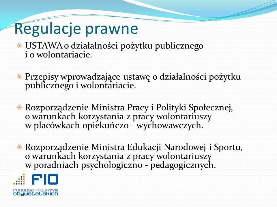 Regulacje prawne USTAWA o działalności pożytku publicznego i o wolontariacie.