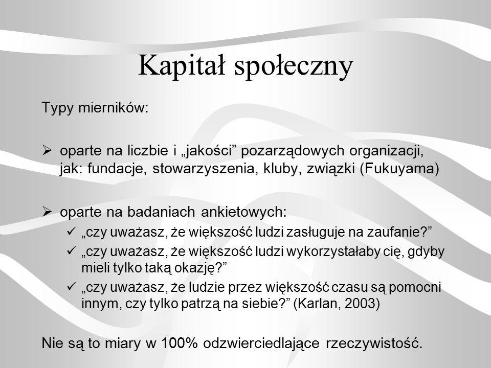 Kapitał społeczny Typy mierników: