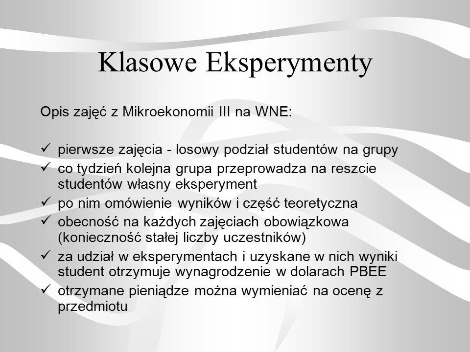 Klasowe Eksperymenty Opis zajęć z Mikroekonomii III na WNE: