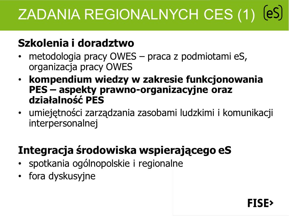 Zadania regionalnych CES (1)