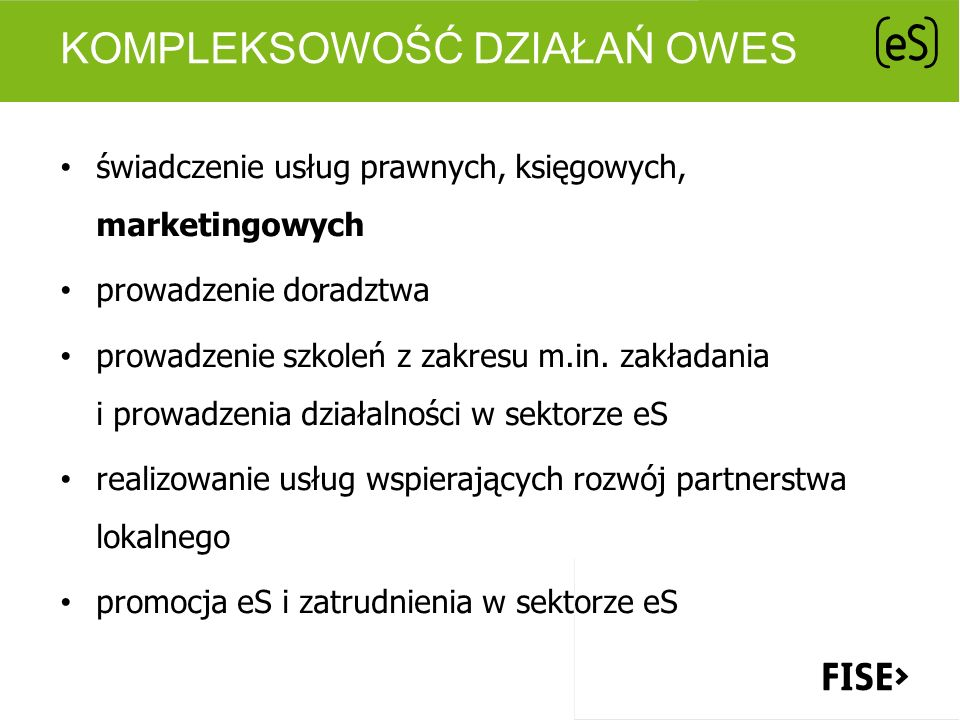 Kompleksowość działań OWES