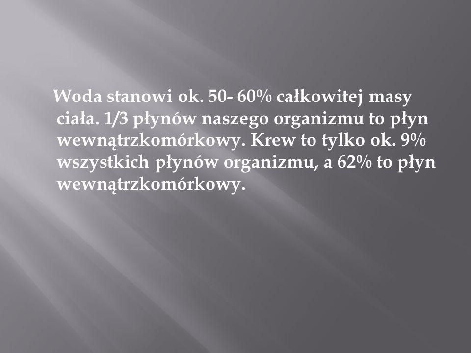 Woda stanowi ok. 50- 60% całkowitej masy ciała