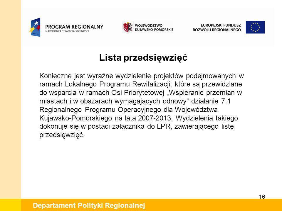 Lista przedsięwzięć