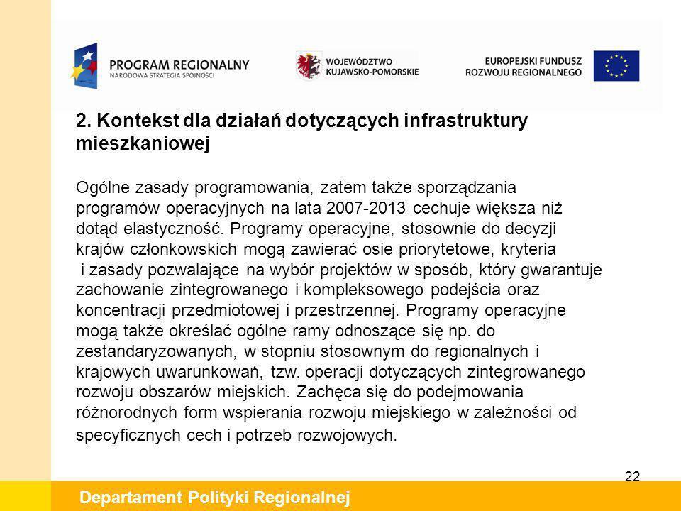 2. Kontekst dla działań dotyczących infrastruktury mieszkaniowej