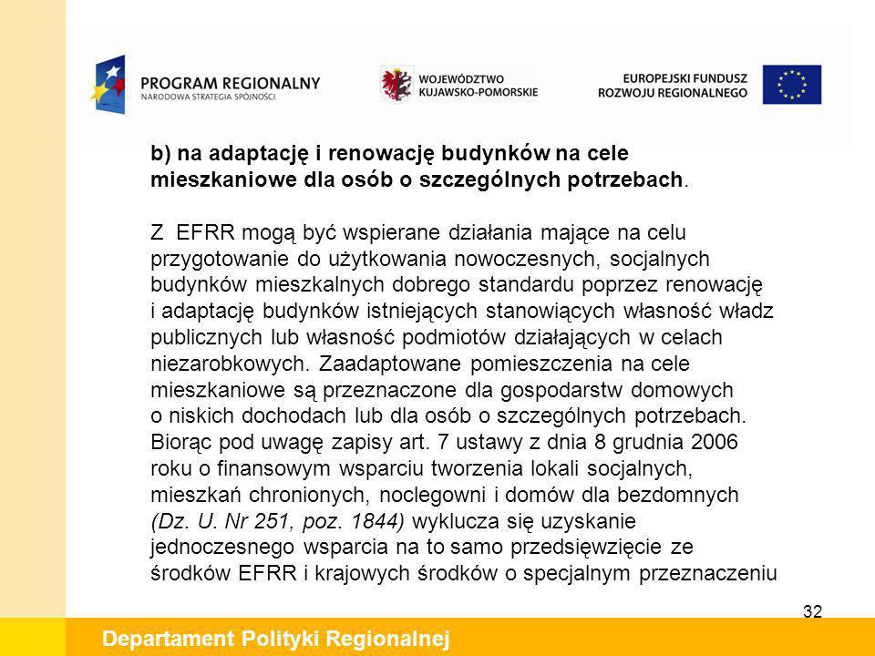 Z EFRR mogą być wspierane działania mające na celu