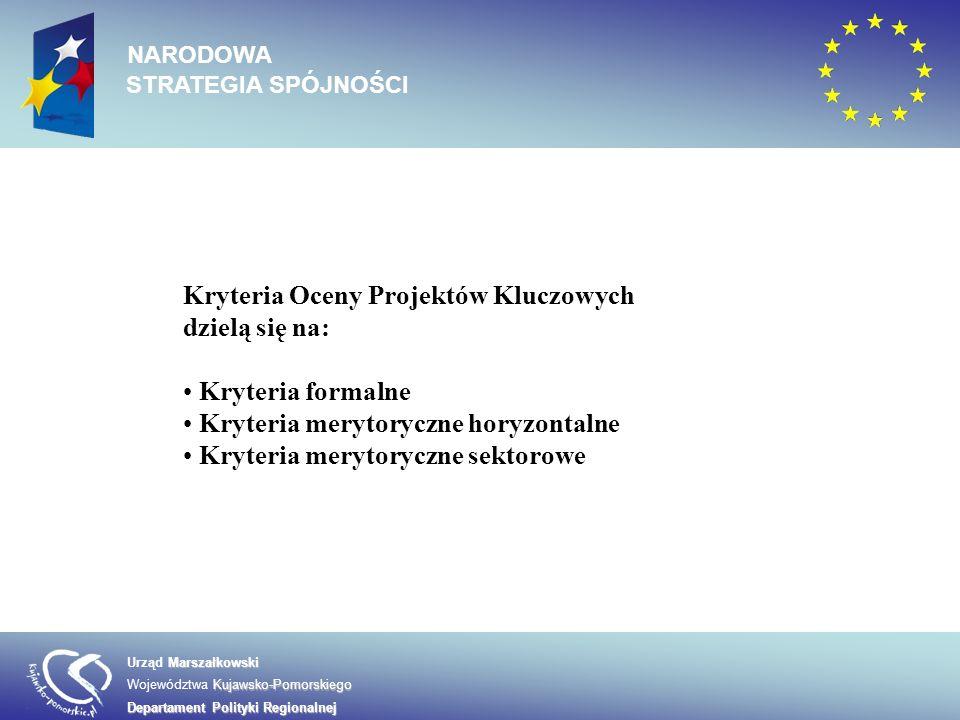 Kryteria Oceny Projektów Kluczowych dzielą się na: