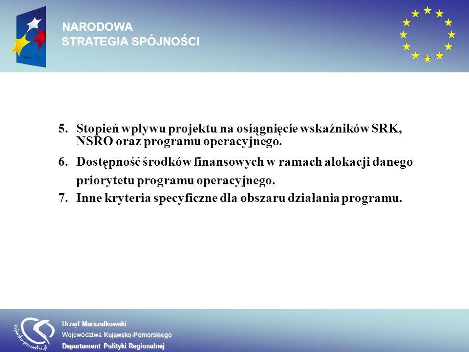Inne kryteria specyficzne dla obszaru działania programu.