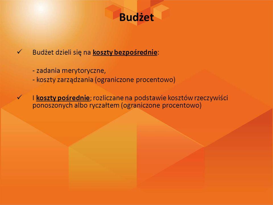 Budżet Budżet dzieli się na koszty bezpośrednie: