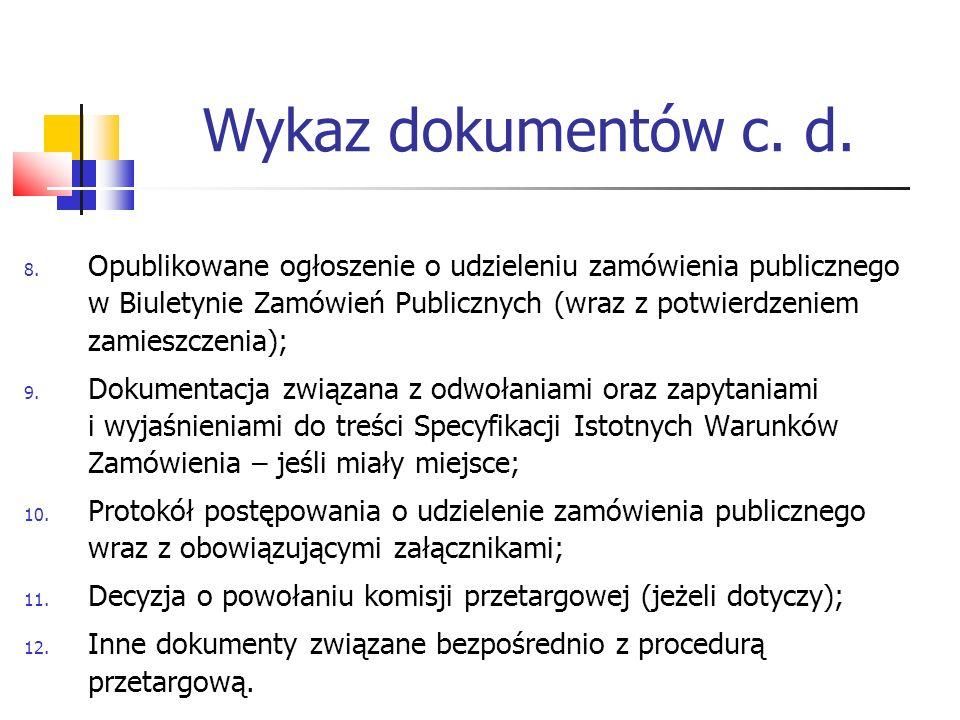 Wykaz dokumentów c. d.