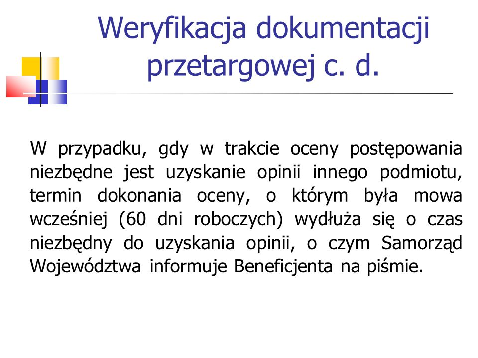 Weryfikacja dokumentacji przetargowej c. d.