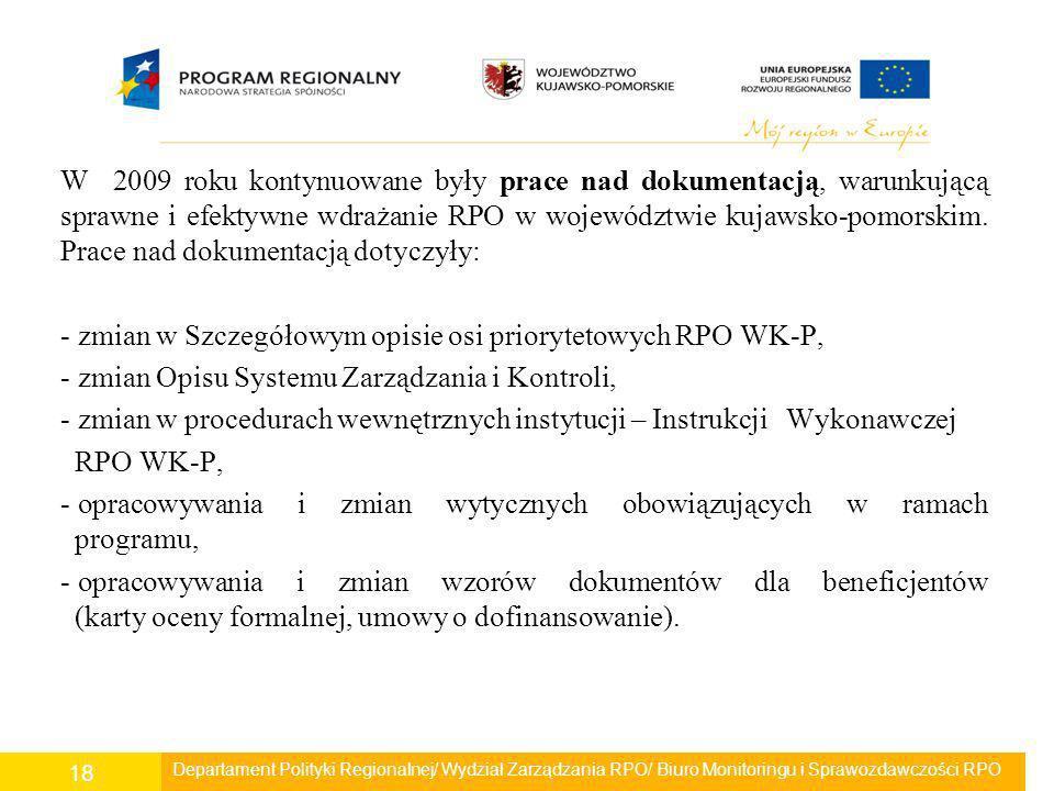 zmian w Szczegółowym opisie osi priorytetowych RPO WK-P,
