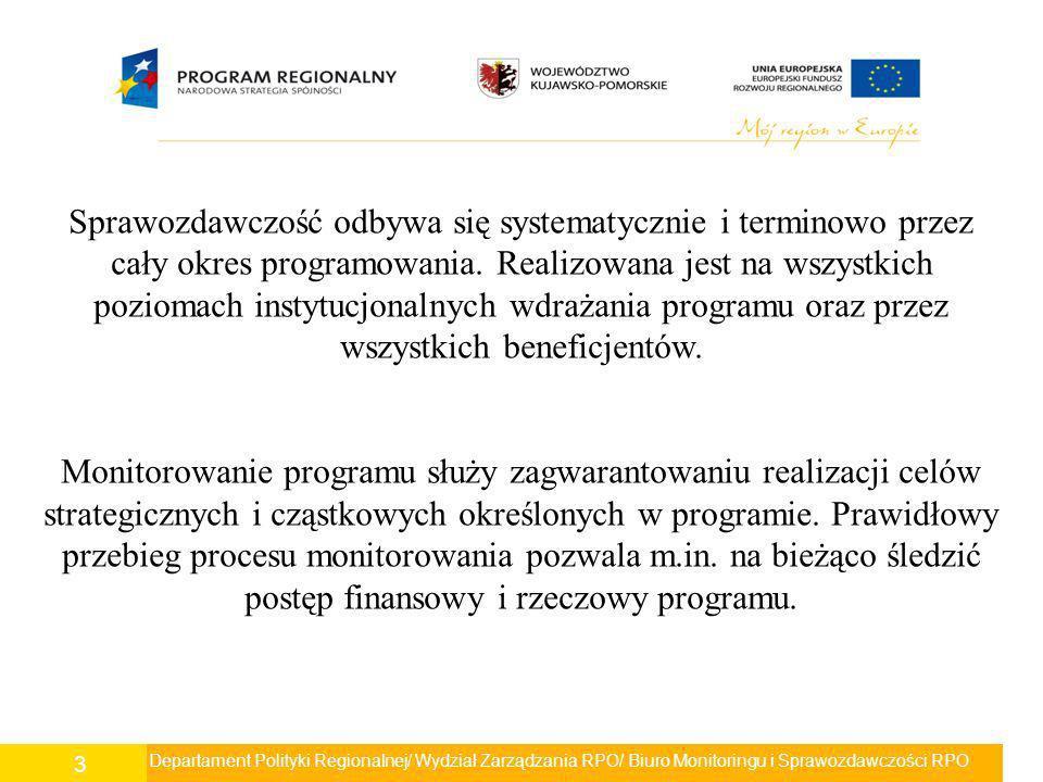 Sprawozdawczość odbywa się systematycznie i terminowo przez cały okres programowania. Realizowana jest na wszystkich poziomach instytucjonalnych wdrażania programu oraz przez wszystkich beneficjentów.