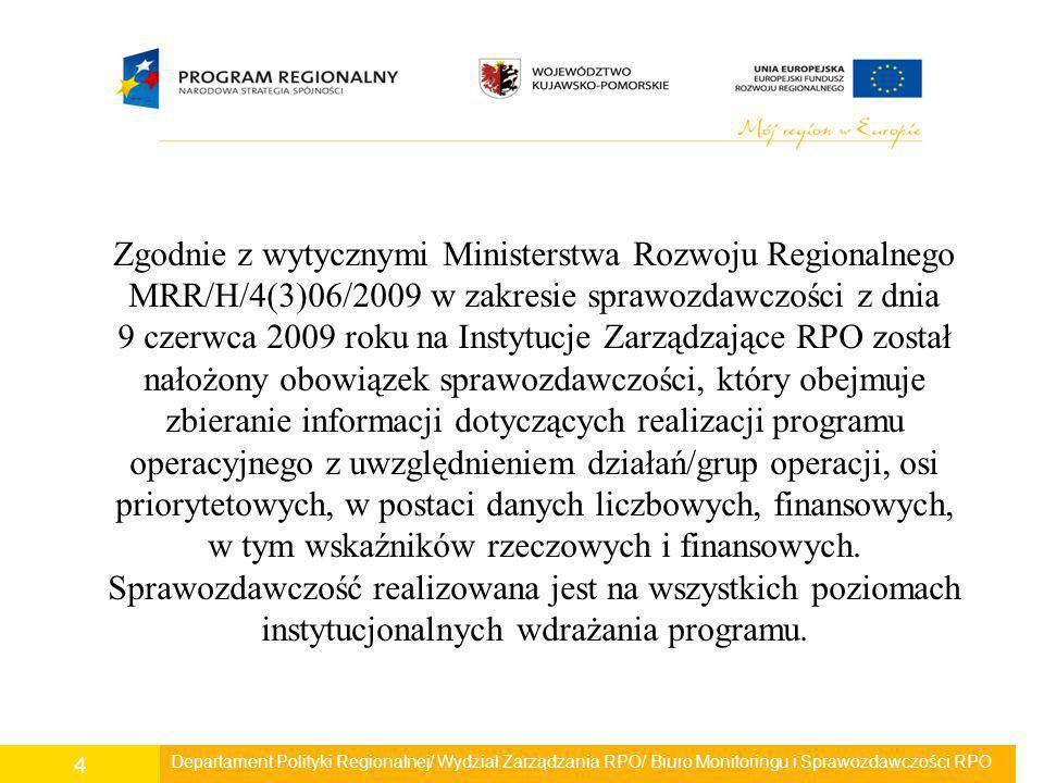 Zgodnie z wytycznymi Ministerstwa Rozwoju Regionalnego MRR/H/4(3)06/2009 w zakresie sprawozdawczości z dnia 9 czerwca 2009 roku na Instytucje Zarządzające RPO został nałożony obowiązek sprawozdawczości, który obejmuje zbieranie informacji dotyczących realizacji programu operacyjnego z uwzględnieniem działań/grup operacji, osi priorytetowych, w postaci danych liczbowych, finansowych, w tym wskaźników rzeczowych i finansowych. Sprawozdawczość realizowana jest na wszystkich poziomach instytucjonalnych wdrażania programu.
