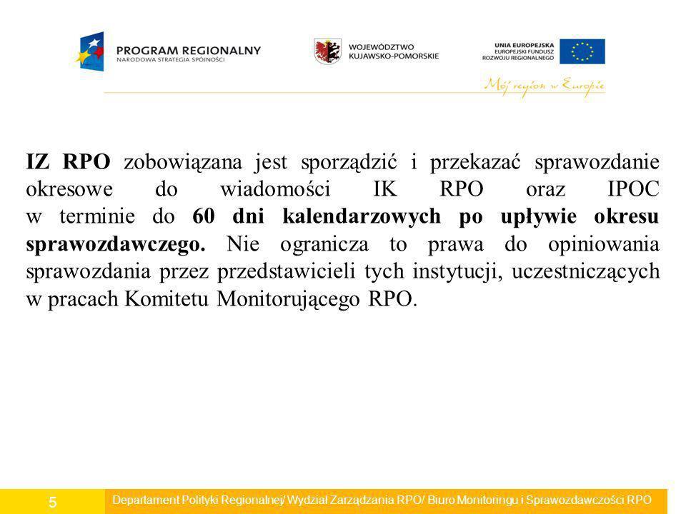 IZ RPO zobowiązana jest sporządzić i przekazać sprawozdanie okresowe do wiadomości IK RPO oraz IPOC w terminie do 60 dni kalendarzowych po upływie okresu sprawozdawczego. Nie ogranicza to prawa do opiniowania sprawozdania przez przedstawicieli tych instytucji, uczestniczących w pracach Komitetu Monitorującego RPO.