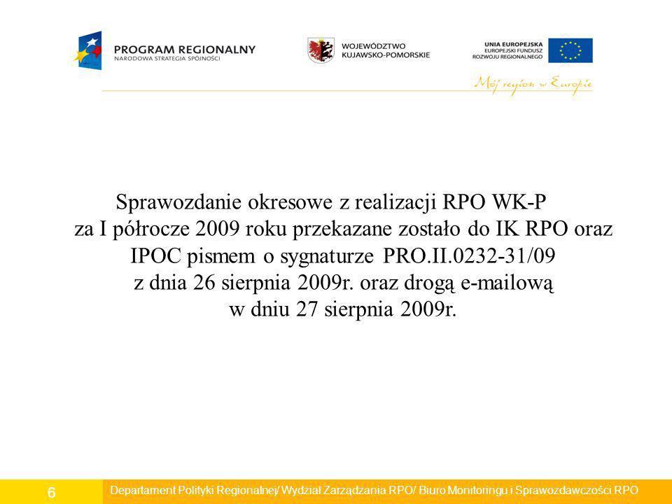 Sprawozdanie okresowe z realizacji RPO WK-P za I półrocze 2009 roku przekazane zostało do IK RPO oraz IPOC pismem o sygnaturze PRO.II.0232-31/09 z dnia 26 sierpnia 2009r. oraz drogą e-mailową w dniu 27 sierpnia 2009r.