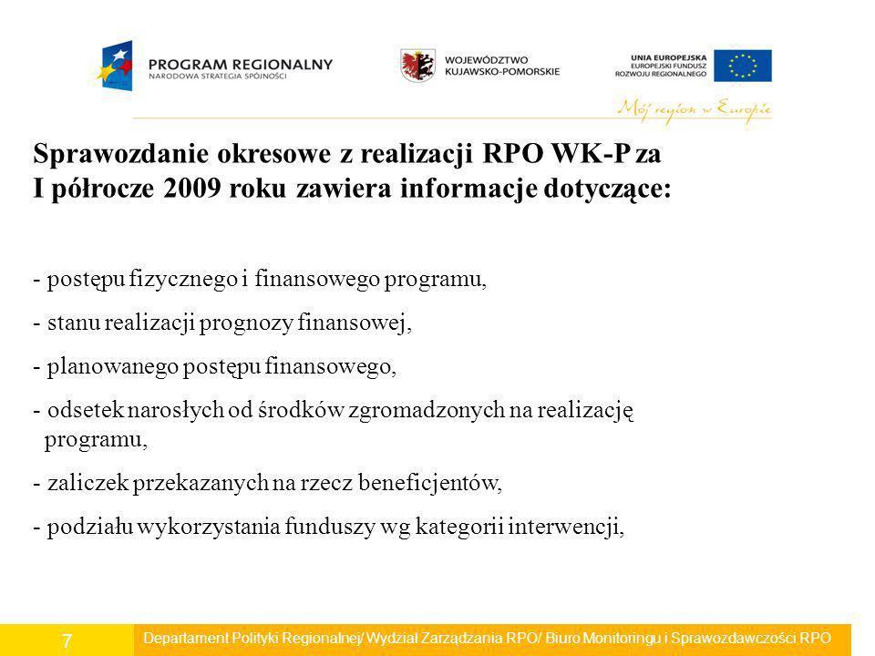 Sprawozdanie okresowe z realizacji RPO WK-P za I półrocze 2009 roku zawiera informacje dotyczące: