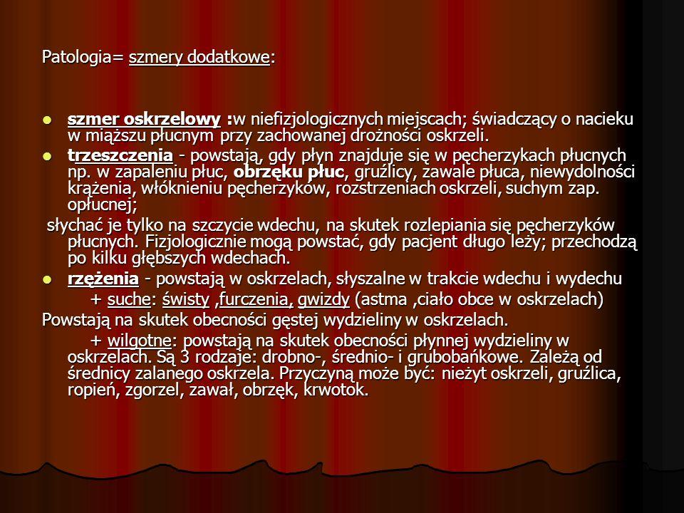 Patologia= szmery dodatkowe: