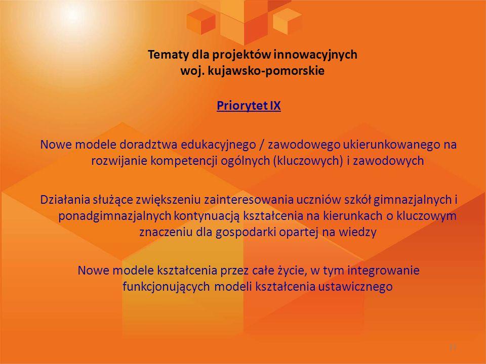 Tematy dla projektów innowacyjnych woj. kujawsko-pomorskie