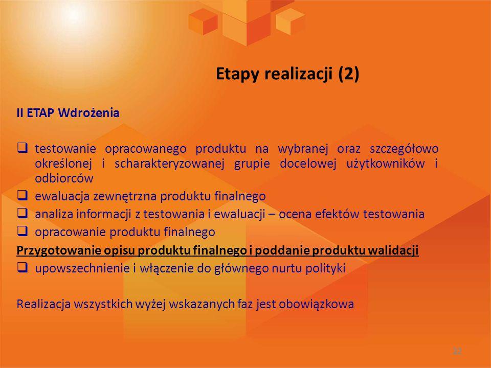 Etapy realizacji (2) II ETAP Wdrożenia