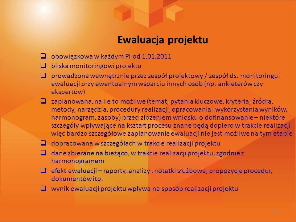 Ewaluacja projektu obowiązkowa w każdym PI od 1.01.2011