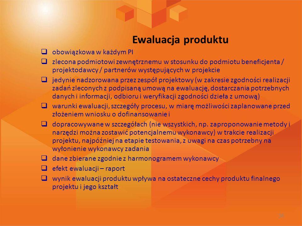 Ewaluacja produktu obowiązkowa w każdym PI