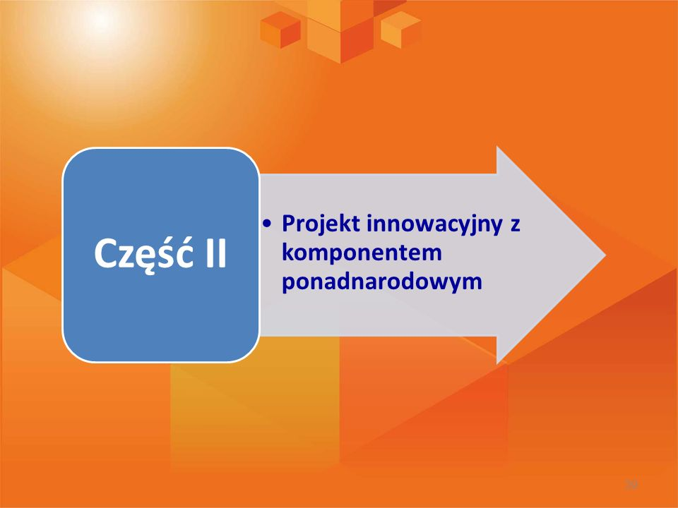 Część II Projekt innowacyjny z komponentem ponadnarodowym