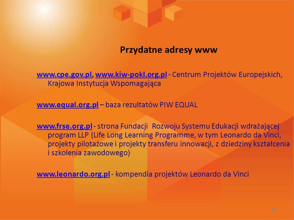Przydatne adresy www www.cpe.gov.pl, www.kiw-pokl.org.pl - Centrum Projektów Europejskich, Krajowa Instytucja Wspomagająca.