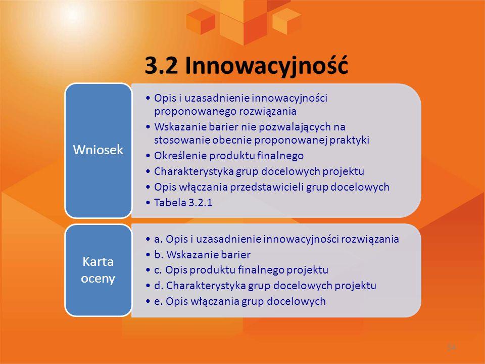 3.2 Innowacyjność Wniosek. Opis i uzasadnienie innowacyjności proponowanego rozwiązania.