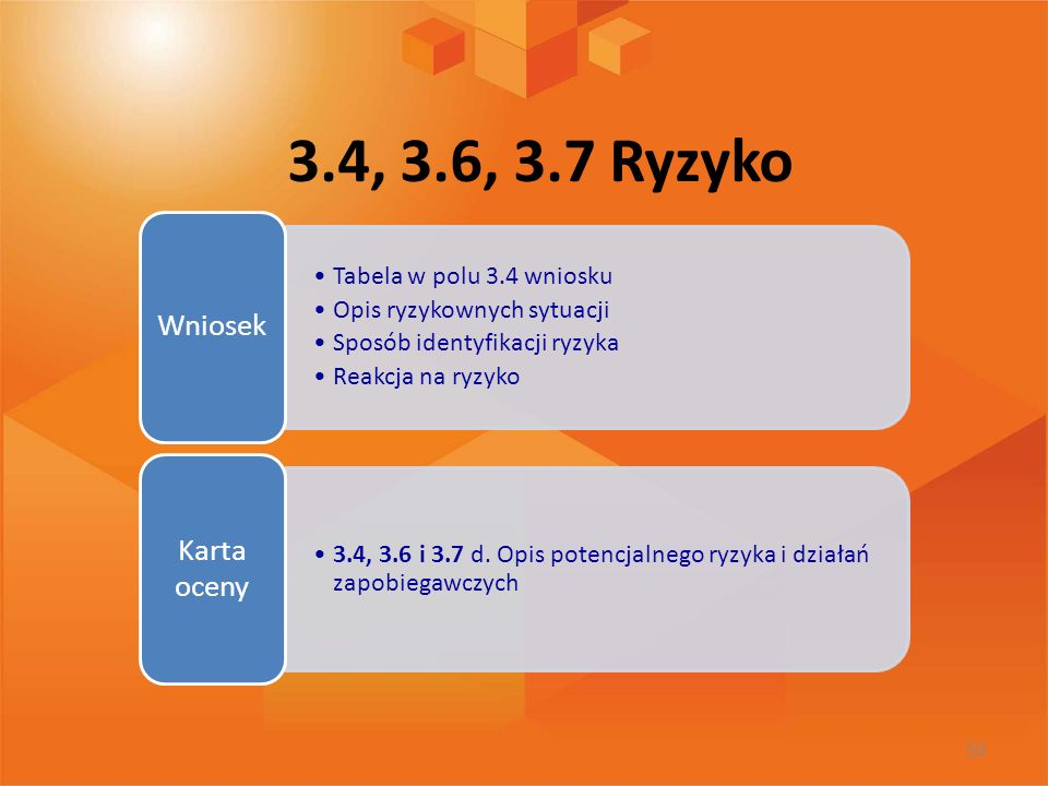 3.4, 3.6, 3.7 Ryzyko Tabela w polu 3.4 wniosku